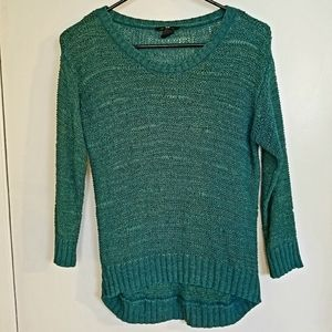 H&M teal open knit sweater with quarter sleeves